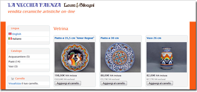 L'e-commerce di ceramica artistica di Faenza