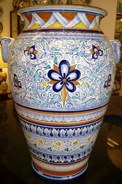 Portaombrelli in ceramica artistica di faenza dipinta a - Portaombrelli in ceramica bianca ...