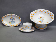 piatto, alzata e tazzina da caffè in ceramica di Faenza stile Compendiario