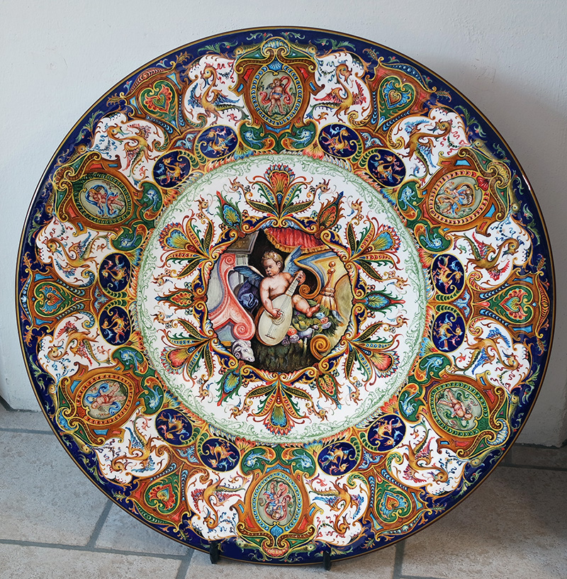 great ceramic plate hand-painted in Raphaelesque style
