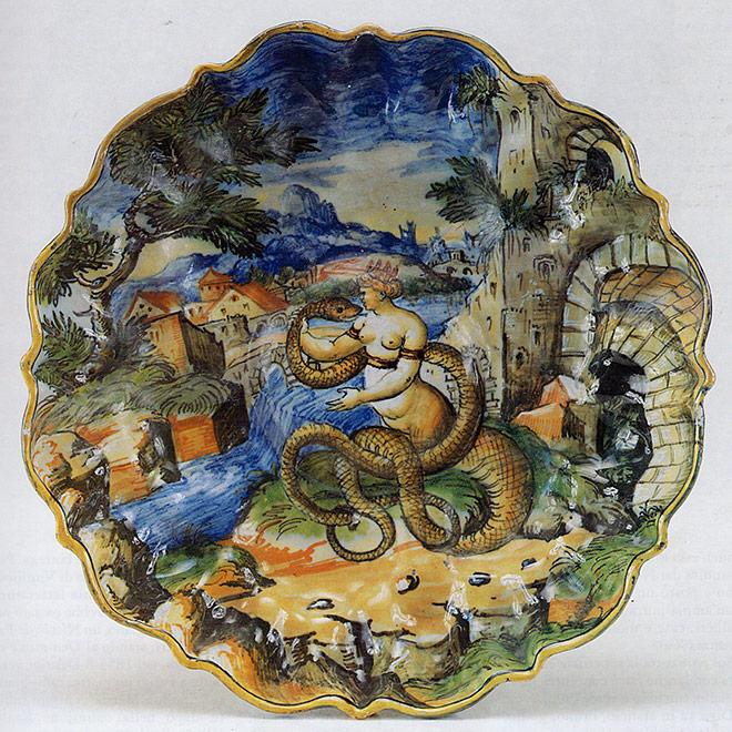 coppa stile Istoriato, bottega Virgiliotto Calamelli, Faenza 1560 ca.