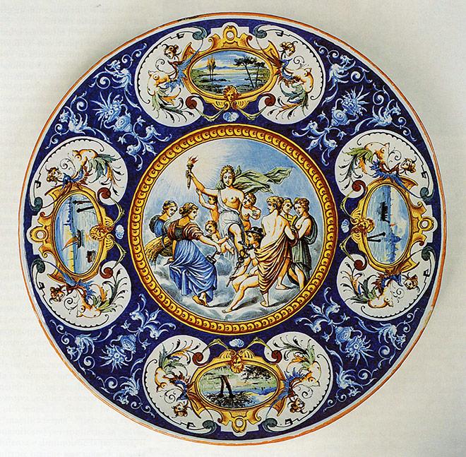 piatto stile storicistico raffaellesco - Faenza, Fabbrica Treré, fine XIX secolo